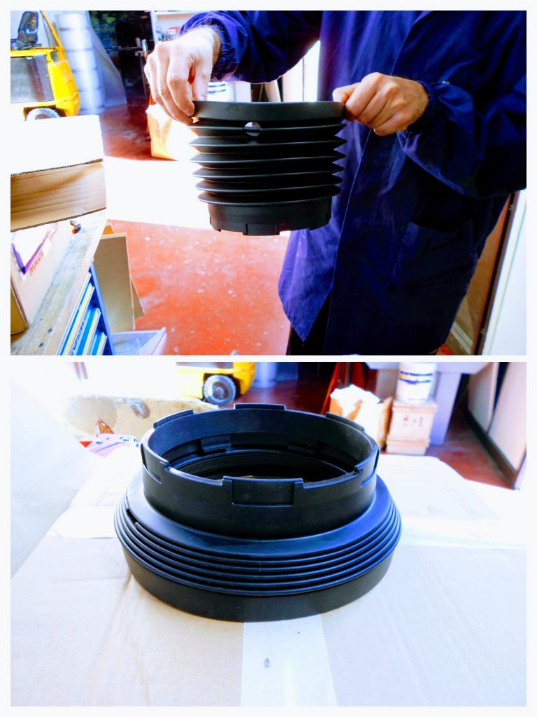 Rubber prototype with silicone replicas