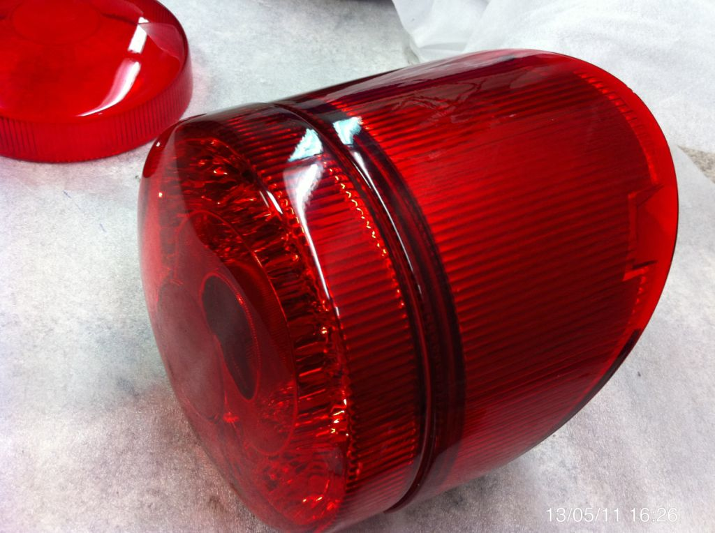 Car headlight with silicone mold replicas